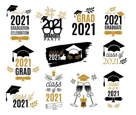 2021 graduation class of labels design set. Badges kit for shirt, print, seal, overlay, stamp, greeting card, invitation