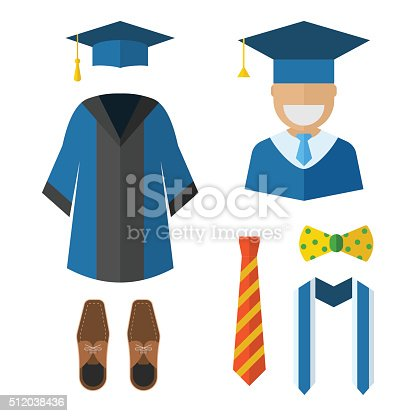 Graduation clothes and accessories set. Graduate gown, tie, ribbon, shoes, bow-tie and hat with graduation happy guy vector icon isolated on white. Graduation ceremony dress wear man set.