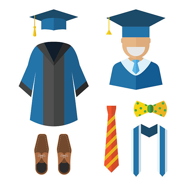 Graduation Clothing and Accessories Icons vector art illustration