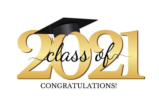 Graduation condratulations class of 2021 with graduation cap hat. Vector Illustration EPS10