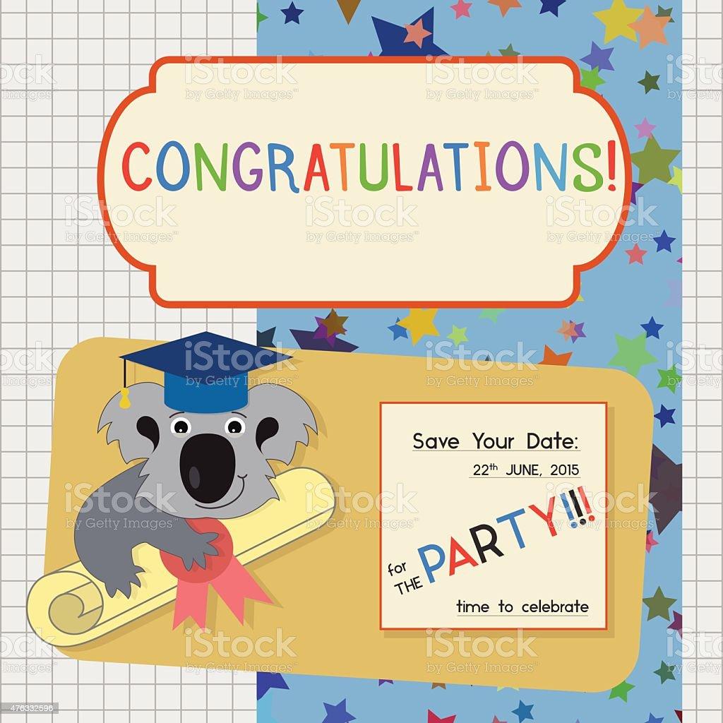 abschlussfeier herzlichen glückwunsch einladung vorlage mit koala, Einladung
