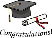 A hand drawn vector cartoon illustration of a graduation cap to congratulate for the scholarship.