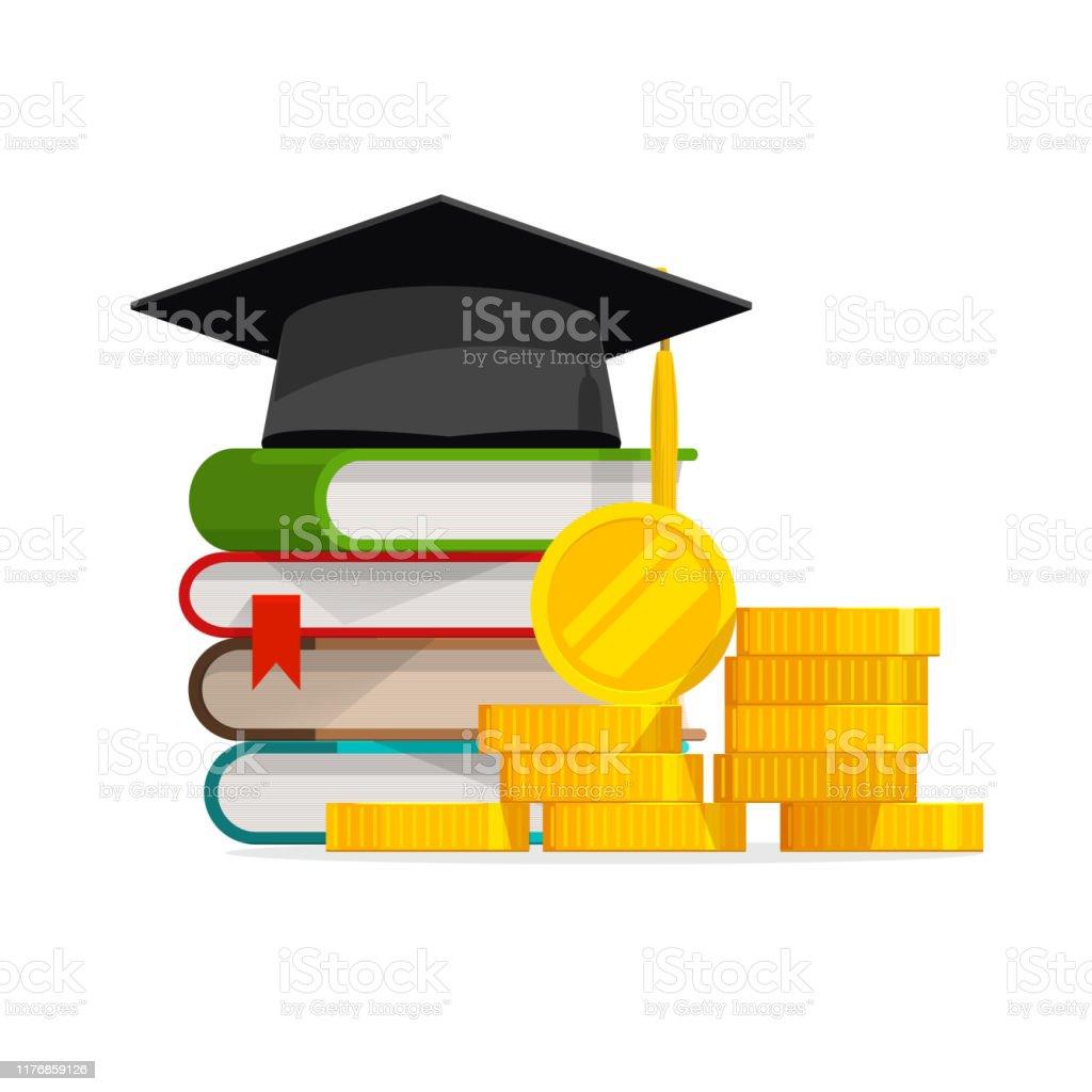 Afstuderen kosten of dure onderwijs of studiebeurs lening vector, platte cartoon geld stapel boeken en GLB of hoed, idee van collegegeld budget of hogeschool, universitaire leer kosten, winst of winst - Royalty-free Bank - Financieel gebouw vectorkunst