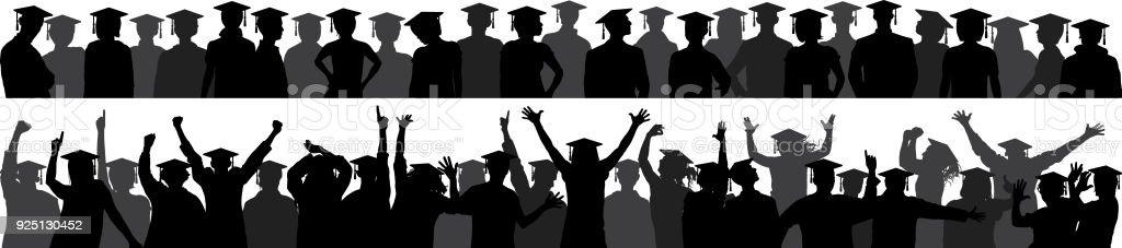 Graduation Crowd vector art illustration