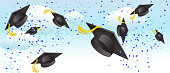 Vector illustration of a graduation cap thrown in mid air. High resolution jpg file included.