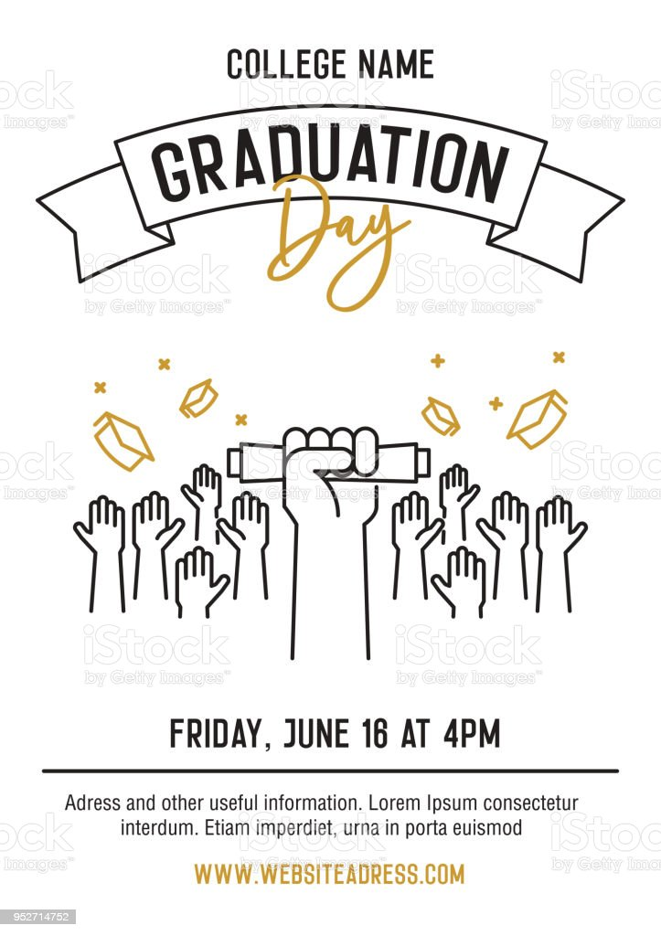 Graduation Day Zeremonie Partei Einladungskarte Mit Händen Angehoben ...