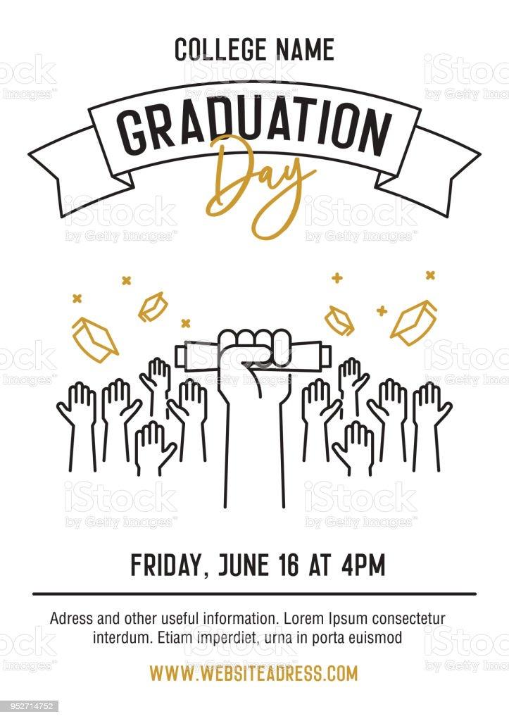 Graduation Day Zeremonie Partei Einladungskarte mit Händen angehoben akademischen Hüte kotzte und Diplome zeigen. Vektor-Template-Design mit schmalen Grat Icons für Schule, Hochschule oder Universität Student event – Vektorgrafik