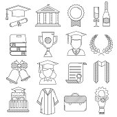 Graduation Day Ceremony Thin Line Icons