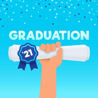 Graduation Diploma Raised Hand Confetti Celebration Party Background
