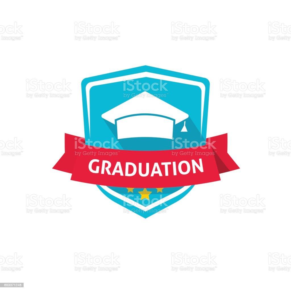 Graduación emblema vector Ilustración, escuela o Universidad de la cresta símbolo idea - ilustración de arte vectorial