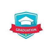 Graduation emblem vector illustration, school or university crest symbol idea