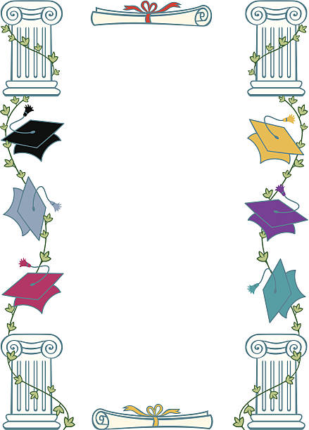 Royalty Free Silhouette Of A Graduation Cap Border Clip Art, Vector ...
