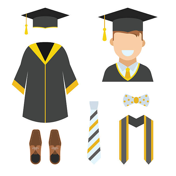 Graduation Garment and Accessories Icons vector art illustration