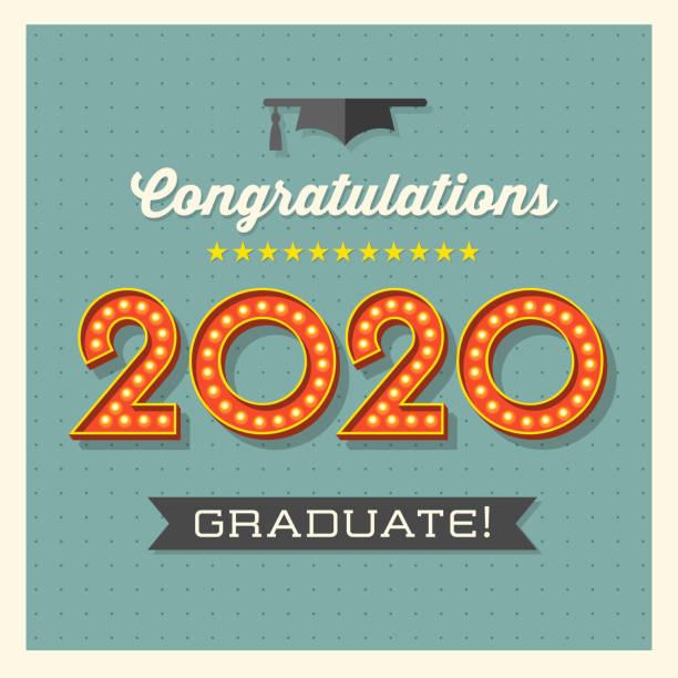 2020 graduation greeting card or banner design with vintage light bulb sign numbers. vector art illustration