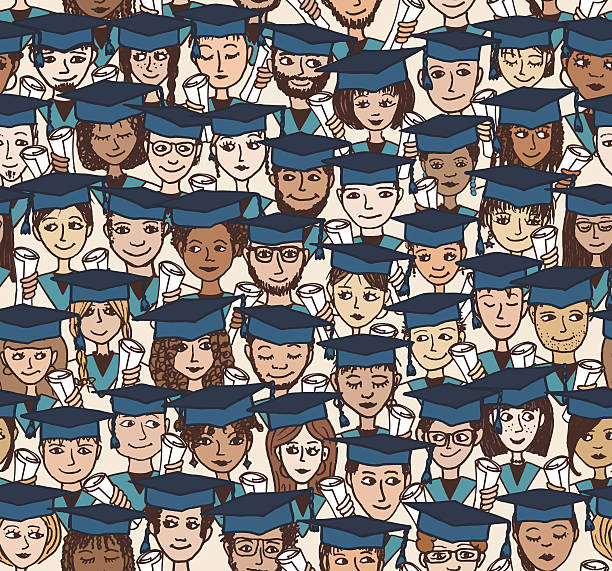 graduation - hand drawn seamless pattern in colour - high school stock illustrations, clip art, cartoons, & icons
