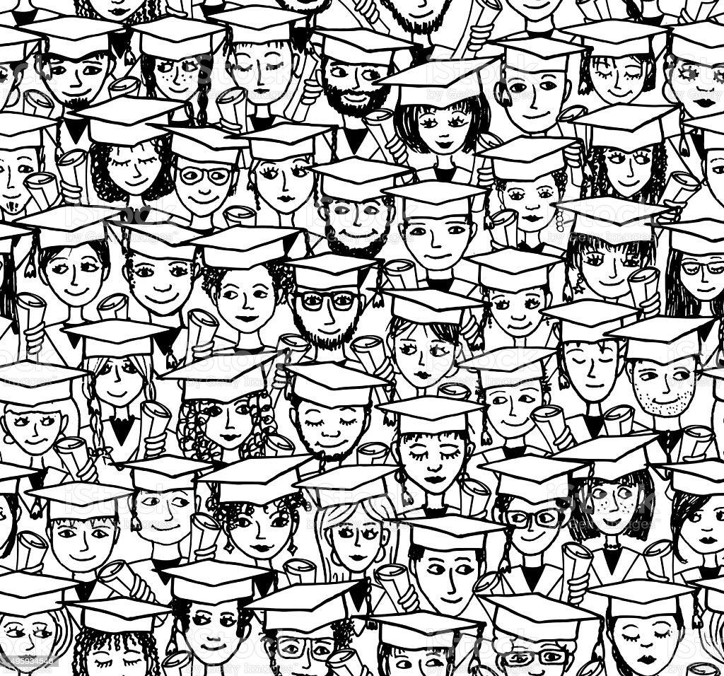 Graduation - hand drawn seamless pattern vector art illustration