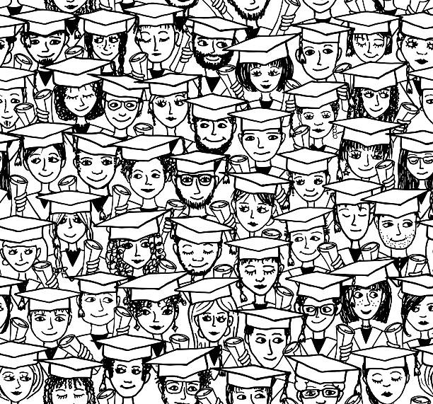 graduation - hand drawn seamless pattern - high school stock illustrations, clip art, cartoons, & icons