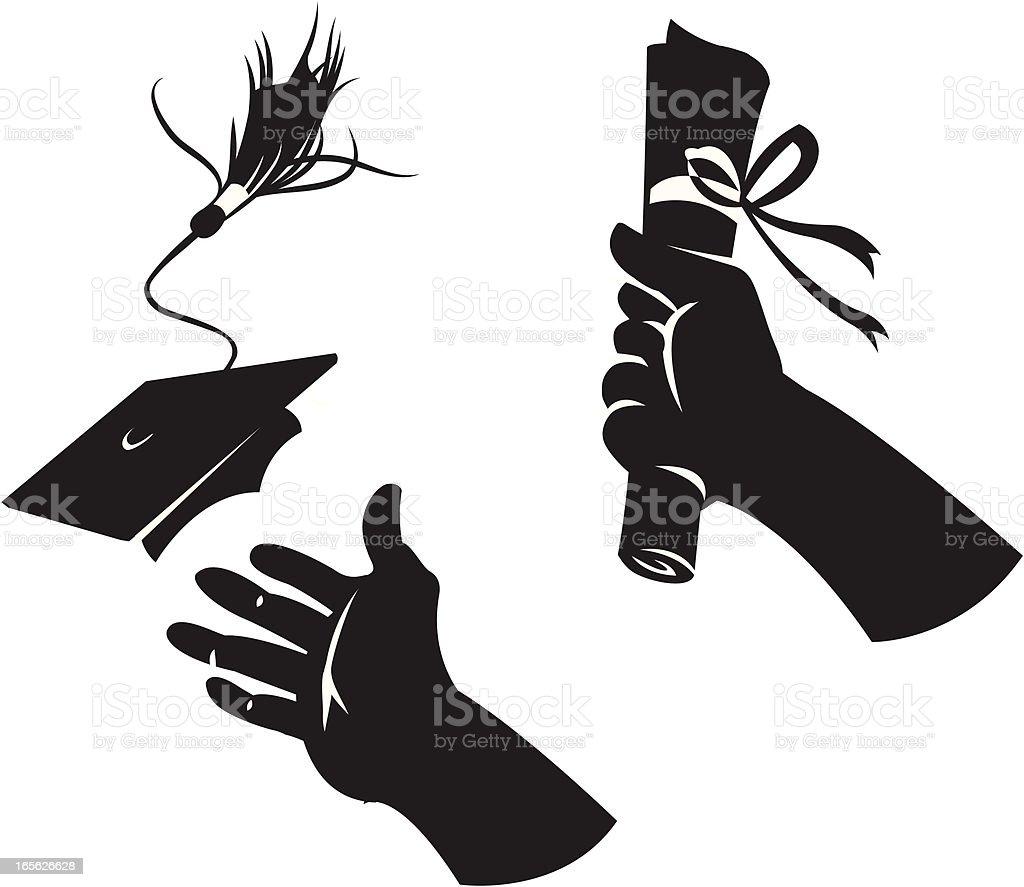 Graduation hands. royalty-free stock vector art