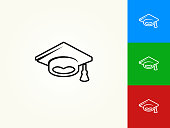 Graduation Hat Black Stroke Linear Icon. This royalty free vector illustration is featuring a black outline linear icon on a light background. The stroke is editable and the width of the line can be easily adjusted. The icon can also be converted to have a black fill color. The download includes 3 additional versions of this icon on blue, green and red background.