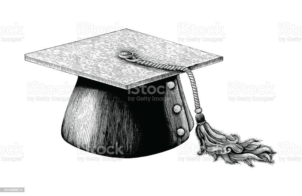 Graduation Hat Hand Drawing Vintage Engraving Illustration