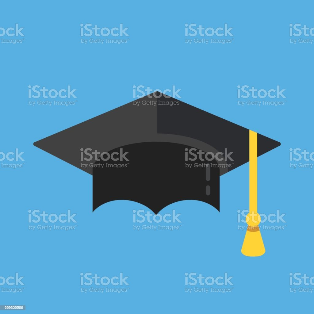 Graduation hat icon. Mortarboard, graduation cap icon. Flat design vector illustration vector art illustration