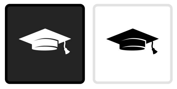 Graduation Hat Icon on  Black Button with White Rollover vector art illustration