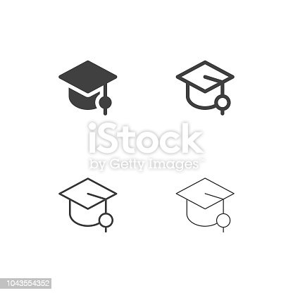 Graduation Hat Icons Multi Series Vector EPS File.