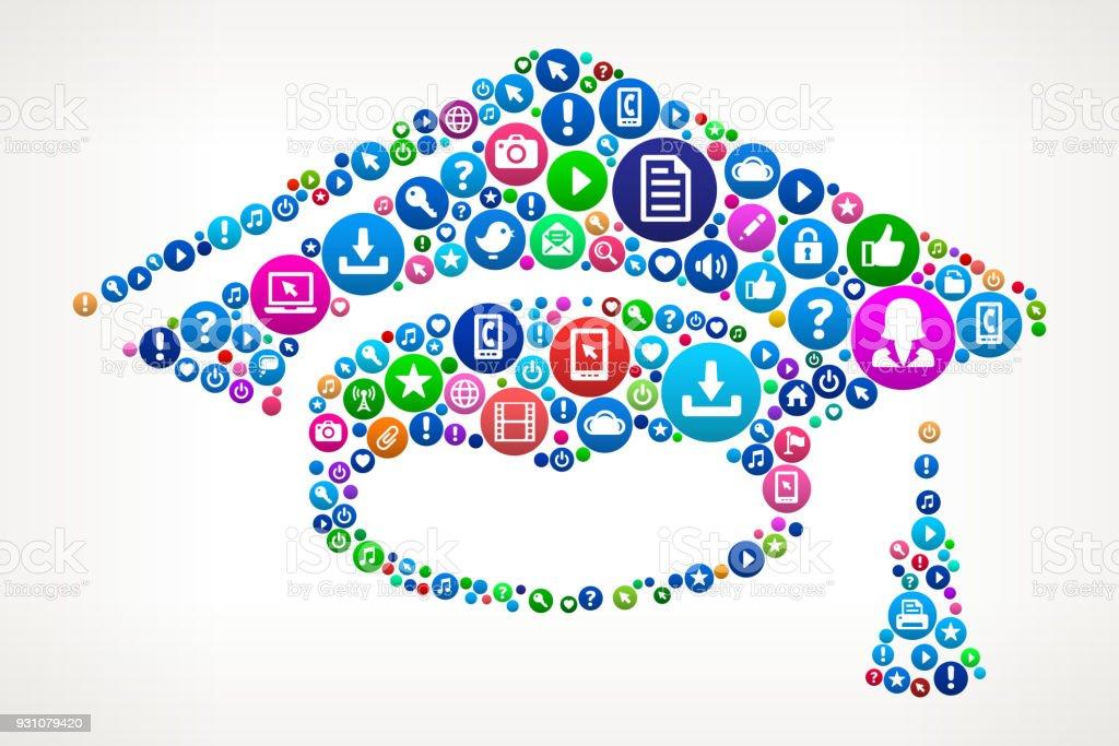 Graduation Hat Internet Communication Technology Icon Pattern vector art illustration