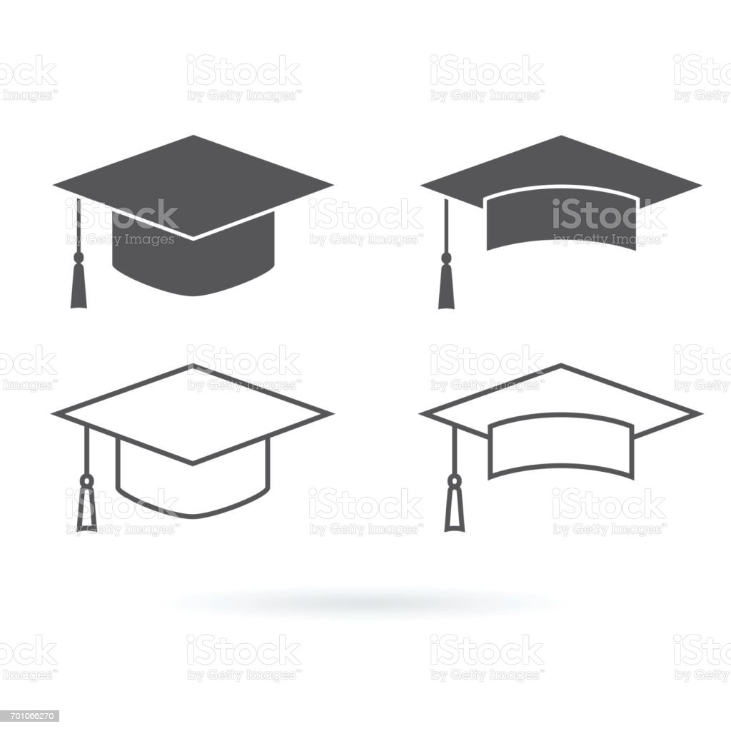 Graduation hat vector icon isolated on white background vector art illustration
