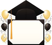 A graduation hat with a blank banner against a balloons