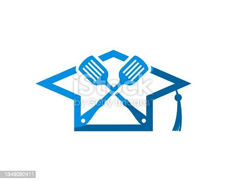 istock Graduation hat with cross spatula inside 1349092411