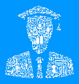 Graduation  Health and Wellness Icon Set Blue Background . This vector graphic composition features the main object composed of health and wellness icons. The icons vary in size. The vector icons are in white color and form a seamless pattern to form the object. The background is blue. The icons include such popular healthcare and wellness icons as fitness, water, people exercising, massage, stretching, yoga and many more. You can use this entire composition or each icon can also be used separately and as not part of the icon set.