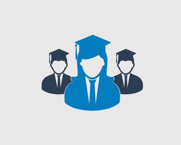 illustrations, cliparts, dessins animés et icônes de symbole de graduation icône, mâle et femelle avec bouchon sur fond gris. - professeur d'université