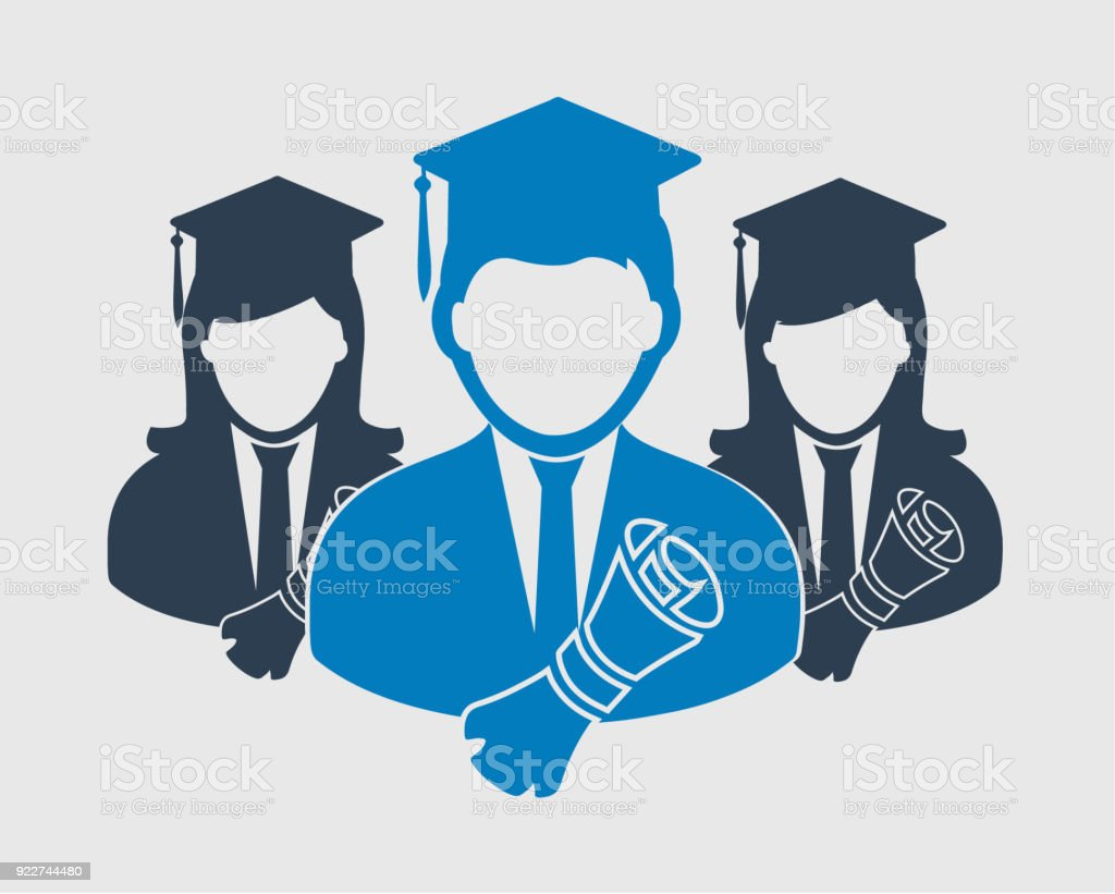 Graduation Icon Male And Female Symbols With Cap And Certificate On