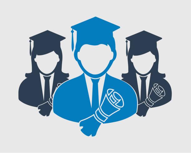 illustrations, cliparts, dessins animés et icônes de icône de l'obtention du diplôme. mâles et femelles symboles avec bouchon et certificat sur fond gris. - professeur d'université