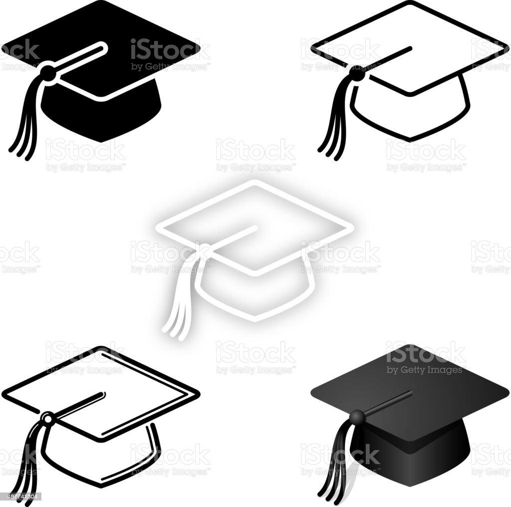 Graduation icon set vector art illustration