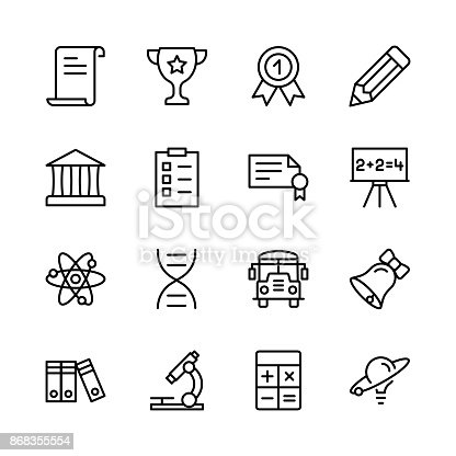 Graduation icon set. Collection of high quality outline education pictograms in modern flat style. Black diploma symbol for web design and mobile app on white background. School line icon.