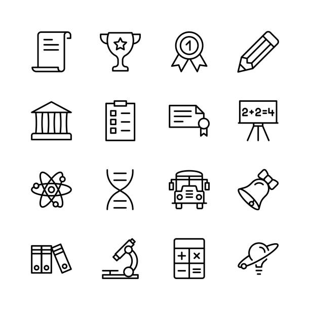 stockillustraties, clipart, cartoons en iconen met afstuderen pictogramserie. - orthografisch symbool
