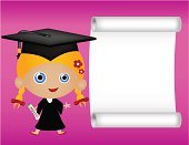 Little girl is holding a diploma with white space for your message.