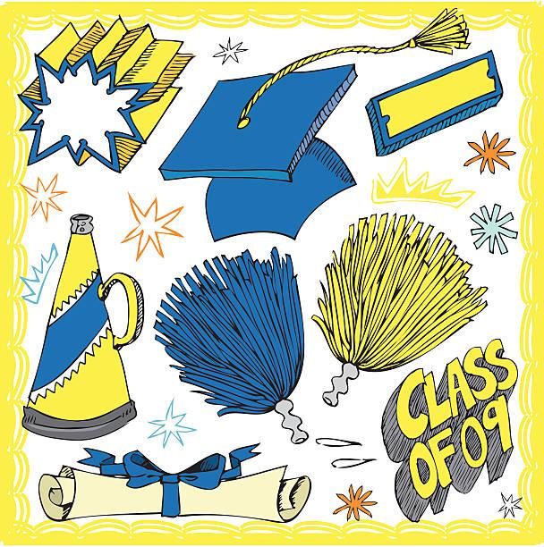 stockillustraties, clipart, cartoons en iconen met graduation items - pompon