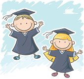 Graduation kids in colourful cartoon style