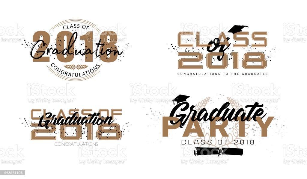 Ilustración de Etiqueta De La Graduación Texto De Vectores Para ...