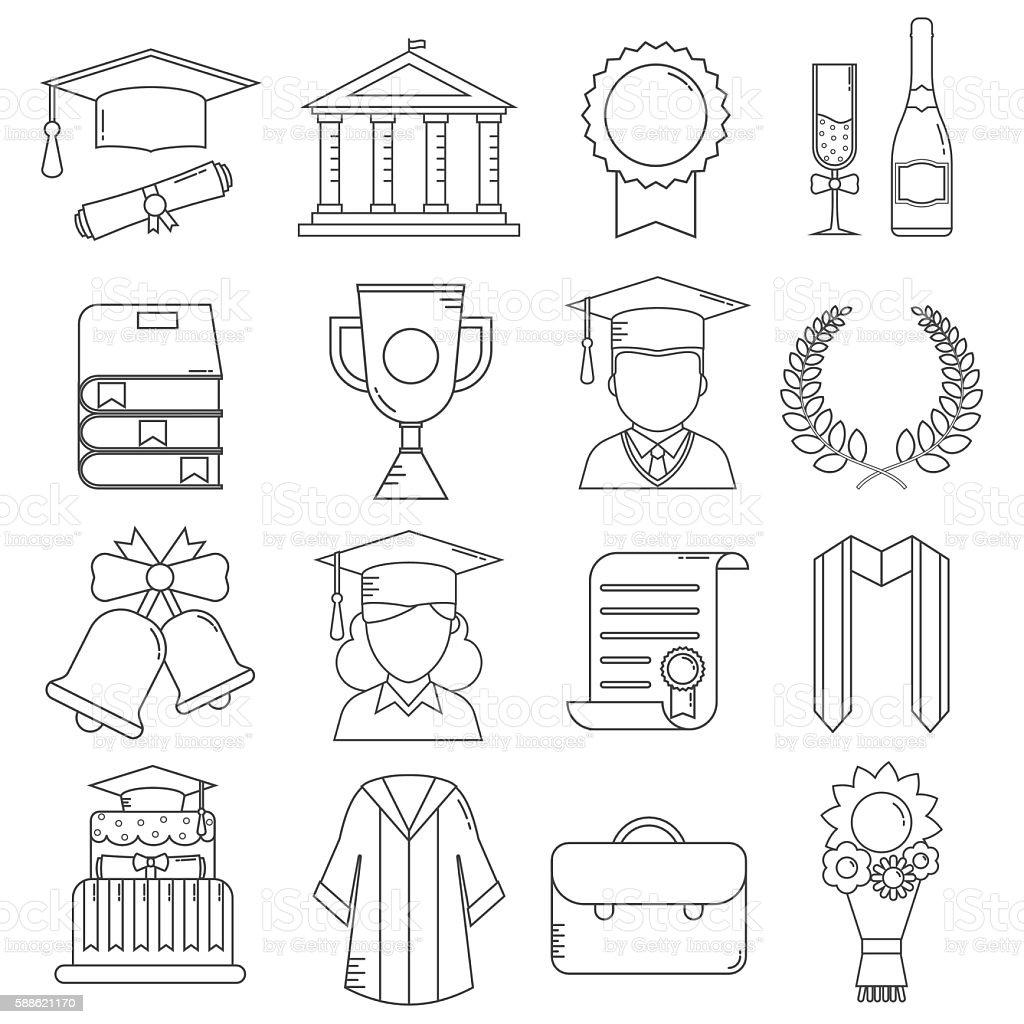 Graduation Line Icons vector art illustration