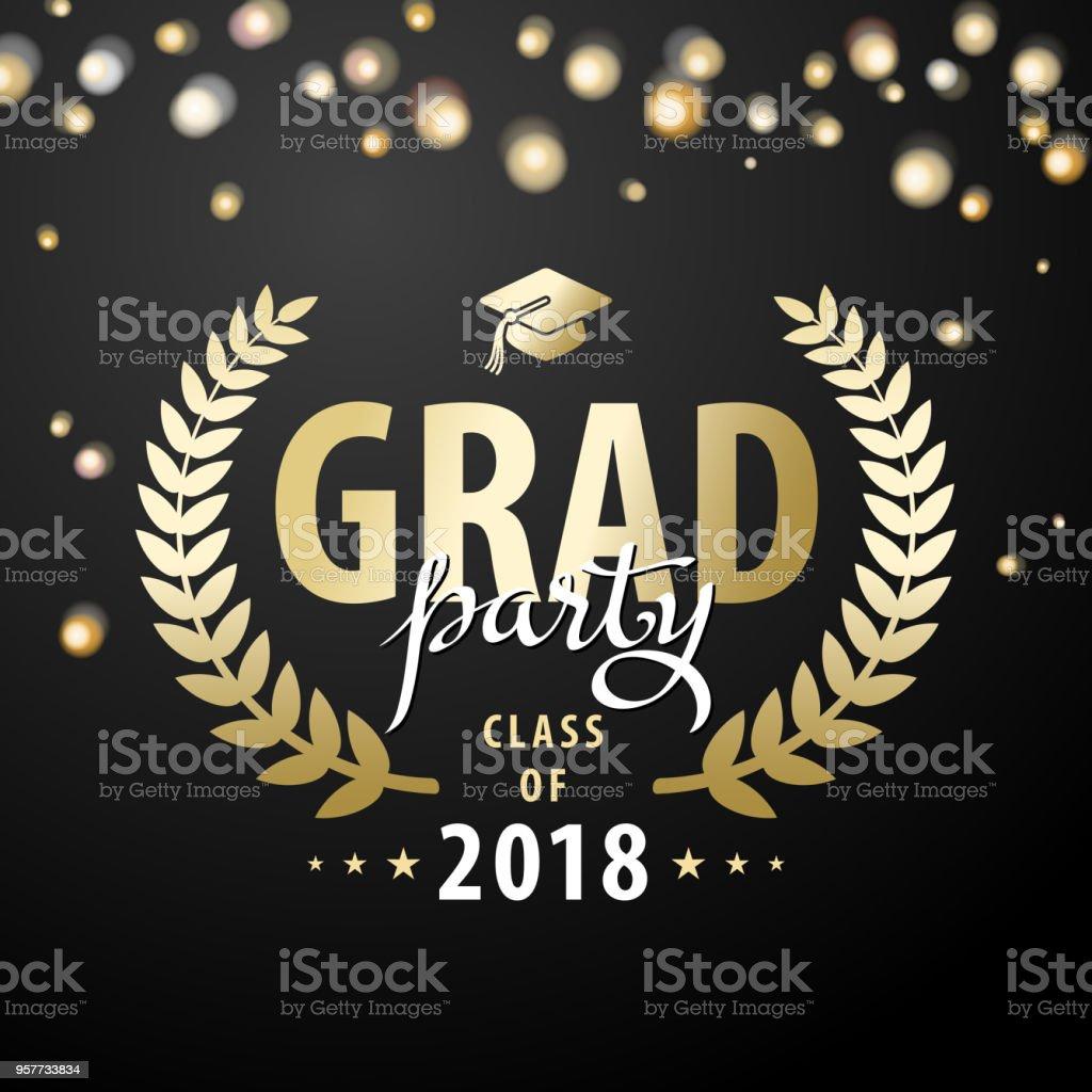 Fiesta de graduación 2018 - ilustración de arte vectorial
