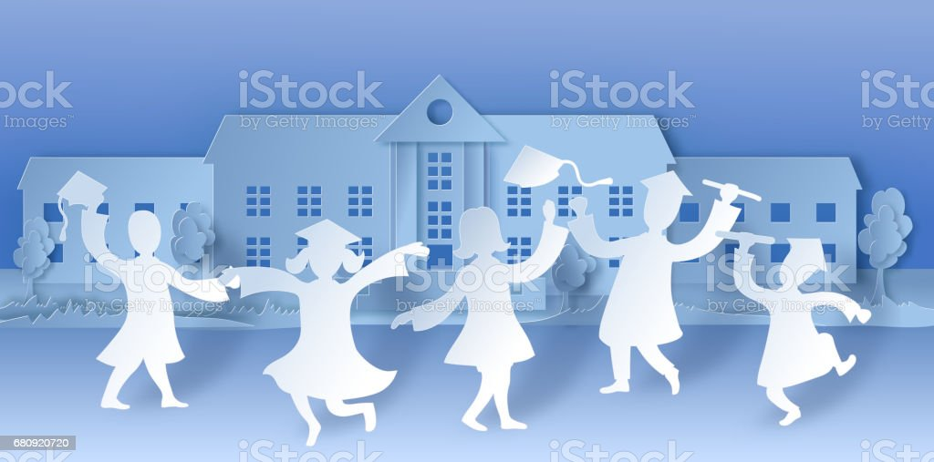Graduation party background in paper art style with happy cartoo royalty-free graduation party background in paper art style with happy cartoo stock vector art & more images of achievement