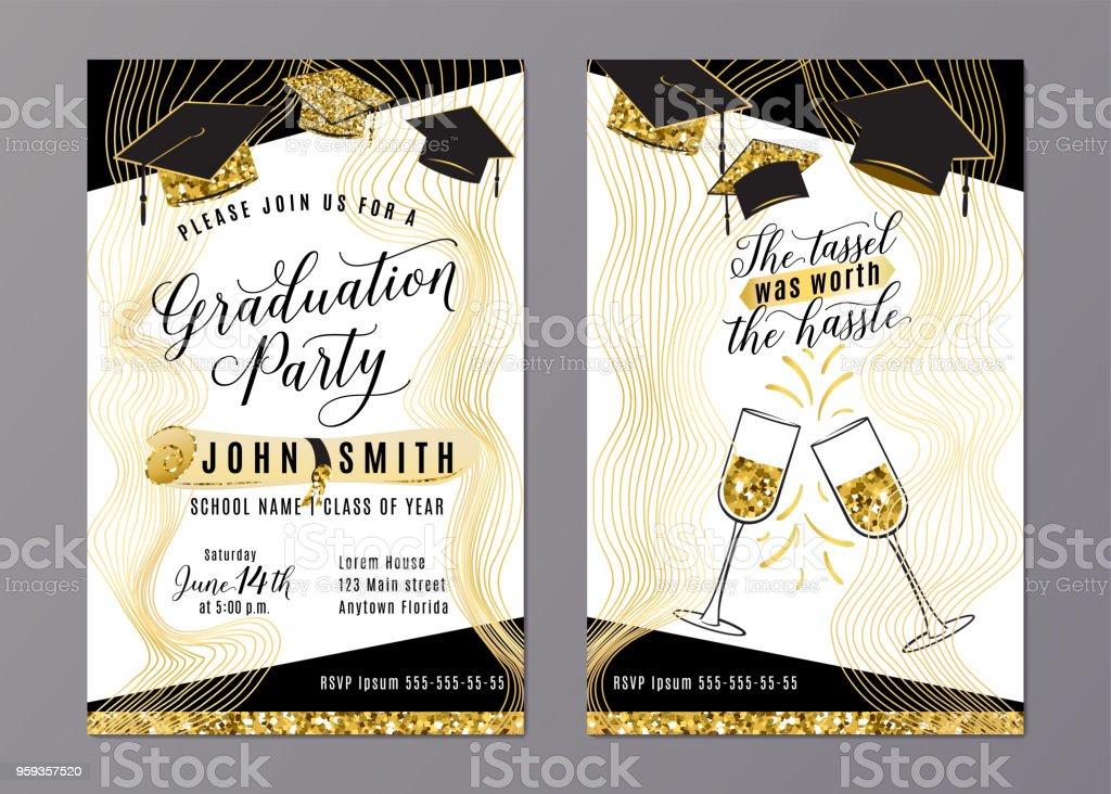 Classe de festa de formatura de cartão de convite vertical de 2018 - ilustração de arte em vetor