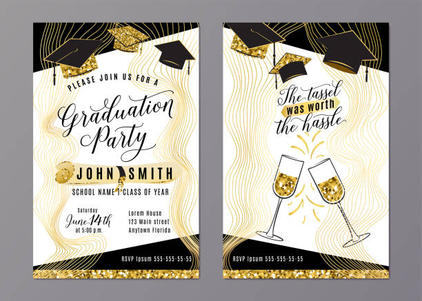 Graduation party class of 2018 vertical invitation card vector art illustration