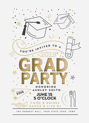 Graduation Party Class of 2019 invitation design template with icon elements