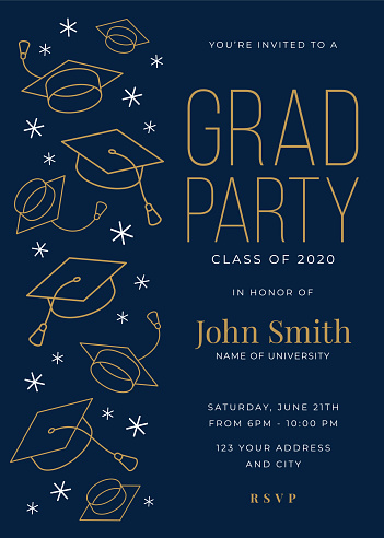 Vector illustration of a Graduation Party Class of 2020 invitation design template with icon elements. Stock illustration