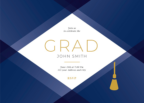 Graduation Party Class of 2021 invitation design template with icon elements.